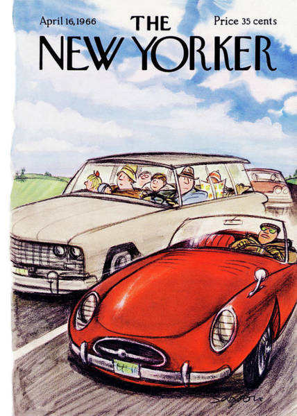 Travel Painting - New Yorker April 16th, 1966 by Charles Saxon