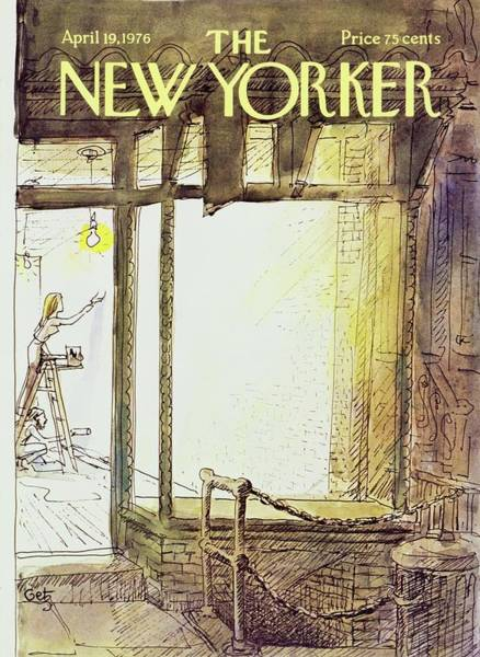 Night Lights Painting - New Yorker April 19th 1976 by Arthur Getz