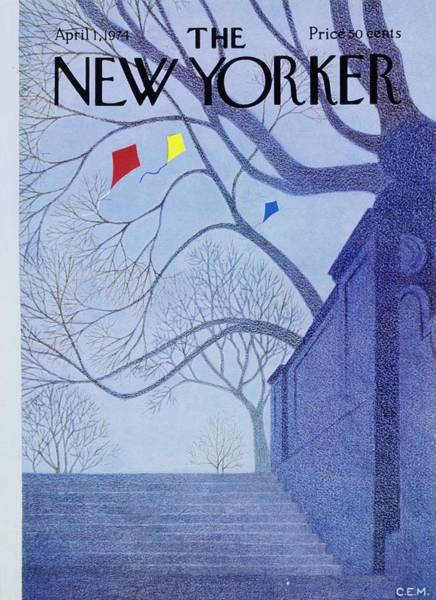 Mid Atlantic Painting - New Yorker April 1st 1974 by Charles Martin
