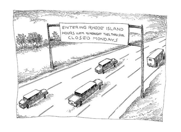 Highway 12 Wall Art - Drawing - New Yorker April 1st, 1991 by John O'Brien