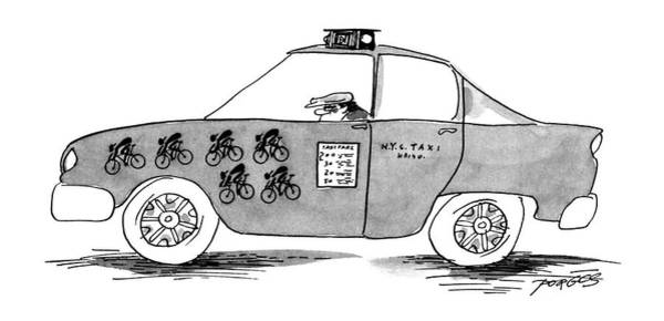 Taxi Drawing - New Yorker April 1st, 1996 by Peter Porges