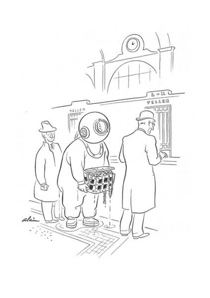 Deposit Drawing - New Yorker April 20th, 1940 by  Alain