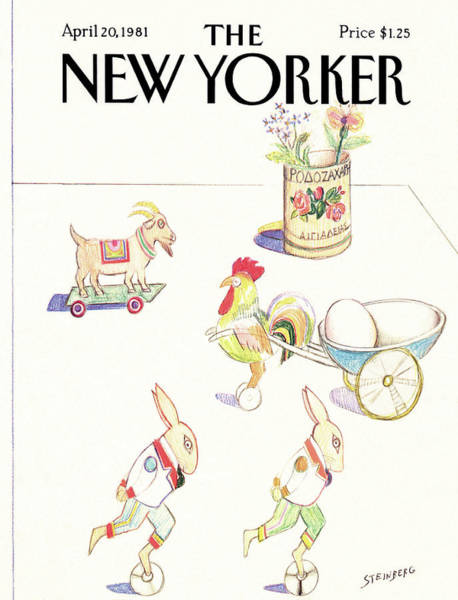 Table Painting - New Yorker April 20th, 1981 by Saul Steinberg