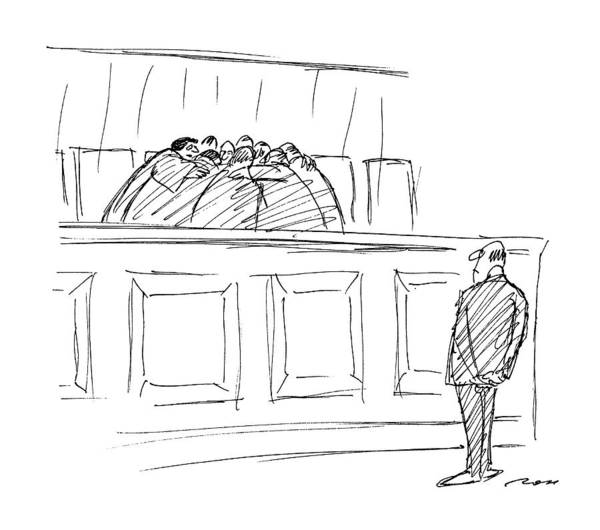 Supreme Court Drawing - New Yorker April 20th, 1987 by Al Ross