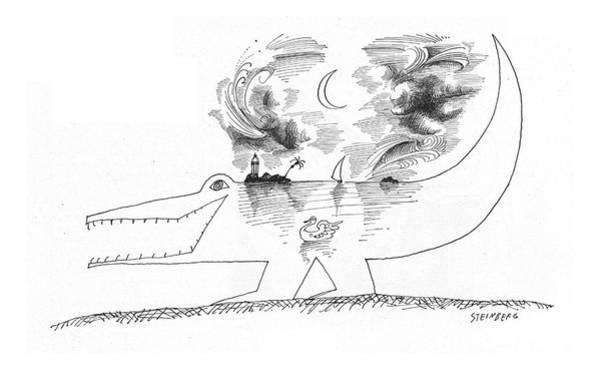 Sailboat Drawing - New Yorker April 21st, 1962 by Saul Steinberg
