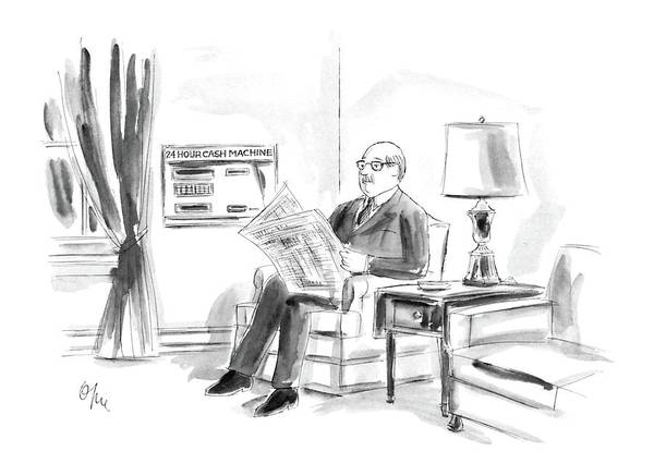 Paper Money Drawing - New Yorker April 21st, 1986 by Everett Opie