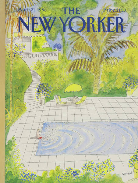 Water Painting - New Yorker April 21st, 1986 by Jean-Jacques Sempe