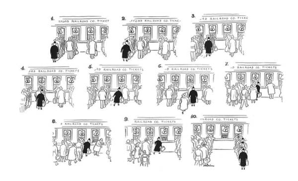 Railroad Station Drawing - New Yorker April 22nd, 1944 by  Alain