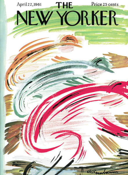 Race Horse Painting - New Yorker April 22nd, 1961 by Abe Birnbaum
