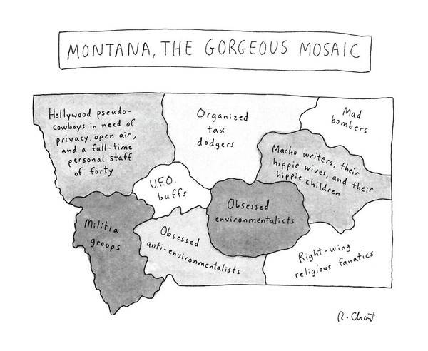 Regional Drawing - New Yorker April 22nd, 1996 by Roz Chast