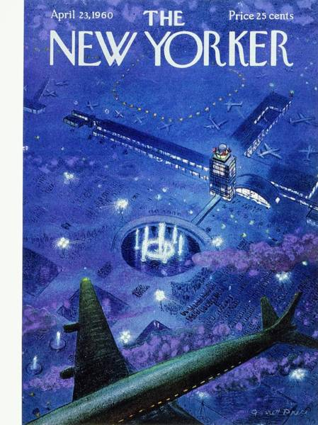 Commercial Airplane Painting - New Yorker April 23rd 1960 by Garrett Price
