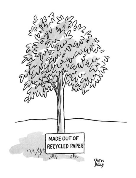 Recycle Drawing - New Yorker April 23rd, 1990 by Chon Day