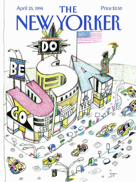 America Painting - New Yorker April 25th, 1994 by Saul Steinberg