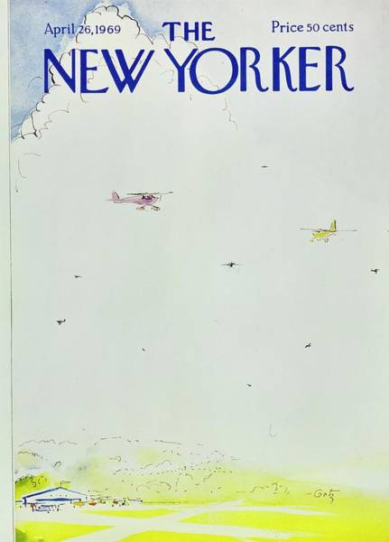 Commercial Airplane Painting - New Yorker April 26th 1969 by Arthur Getz
