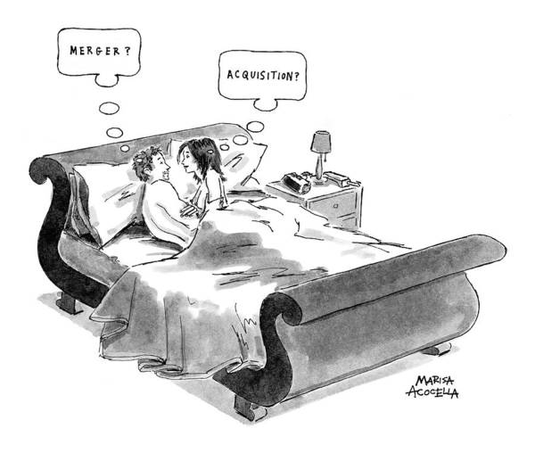 Mergers Drawing - New Yorker April 26th, 1999 by Marisa Acocella Marchetto
