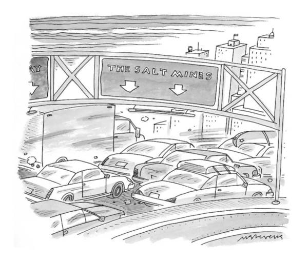 Highway Drawing - New Yorker April 26th, 1999 by Mick Stevens