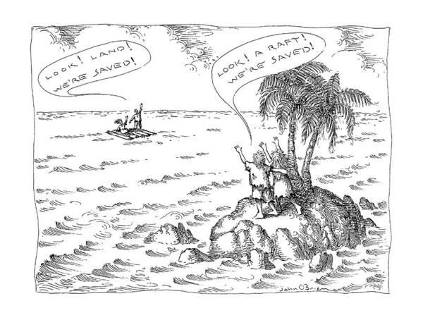 Raft Wall Art - Drawing - New Yorker April 29th, 1991 by John O'Brien