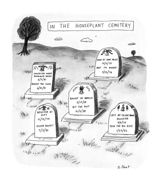 Cemetaries Wall Art - Drawing - New Yorker April 29th, 1991 by Roz Chast