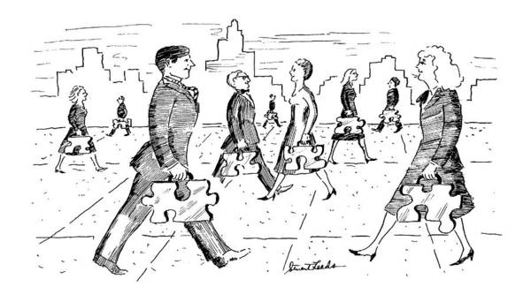 Man And Woman Drawing - New Yorker April 29th, 1991 by Stuart Leeds