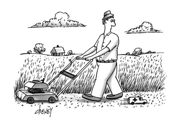 Mower Drawing - New Yorker April 29th, 1991 by Tom Cheney
