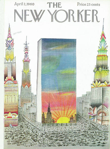 Skyscrapers Painting - New Yorker April 2nd, 1960 by Saul Steinberg