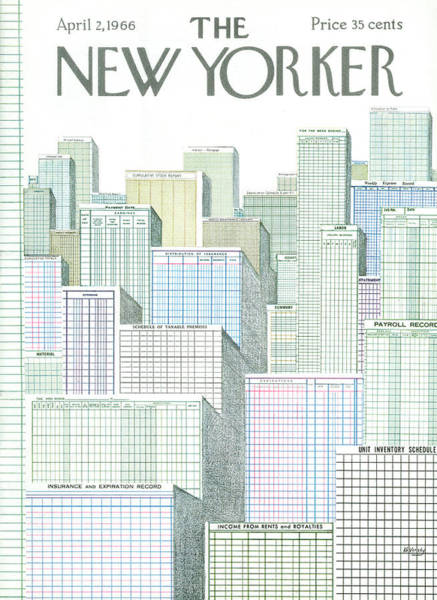 Skyline Painting - New Yorker April 2nd, 1966 by Anatol Kovarsky