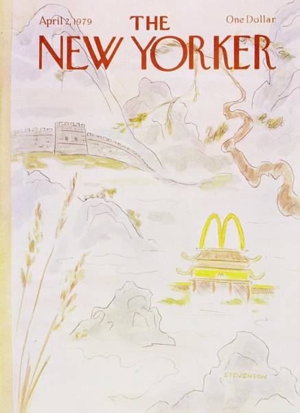 Restaurant Painting - New Yorker April 2nd 1979 by James Stevenson