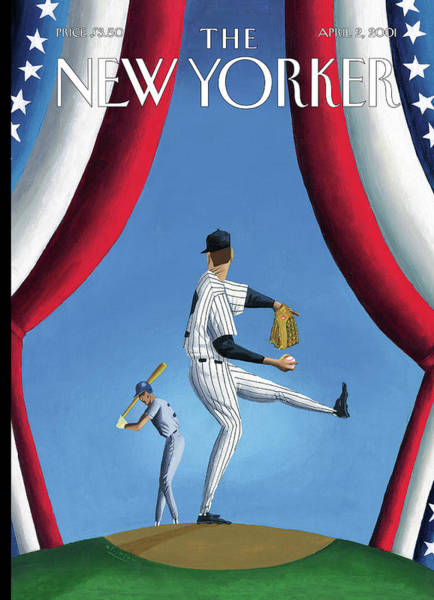 Hitter Painting - New Yorker April 2nd, 2001 by Mark Ulriksen