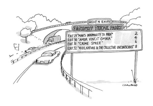Highway Drawing - New Yorker April 30th, 1990 by Michael Crawford