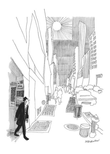 Skyscrapers Drawing - New Yorker April 3rd, 1965 by James Stevenson
