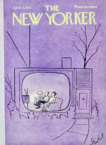 Television Painting - New Yorker April 4th 1970 by Stan Hunt