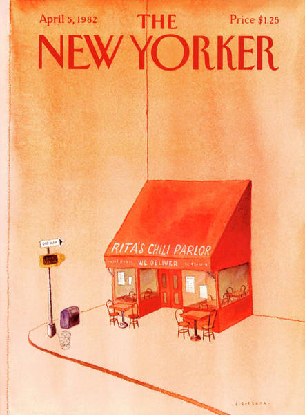 Table Painting - New Yorker April 5th, 1982 by Abel Quezada