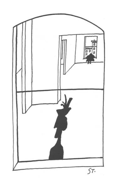 Silhouette Drawing - New Yorker April 6th, 1957 by Saul Steinberg