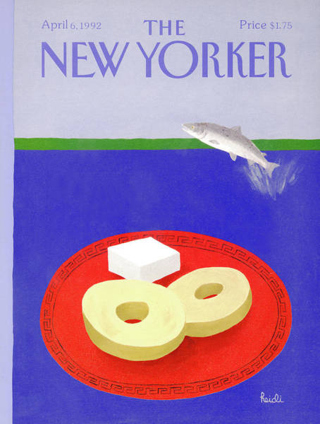 Dinner Plate Painting - New Yorker April 6th, 1992 by Heidi Goennel