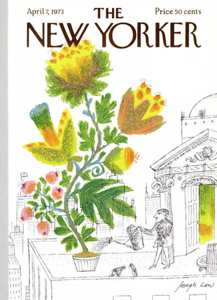 Plant Painting - New Yorker April 7th, 1973 by Joseph Low
