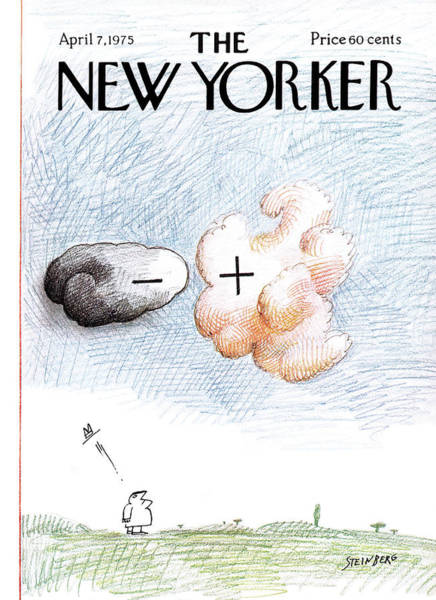 Cloud Painting - New Yorker April 7th, 1975 by Saul Steinberg