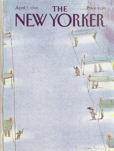 City Painting - New Yorker April 7th, 1986 by Eugene Mihaesco