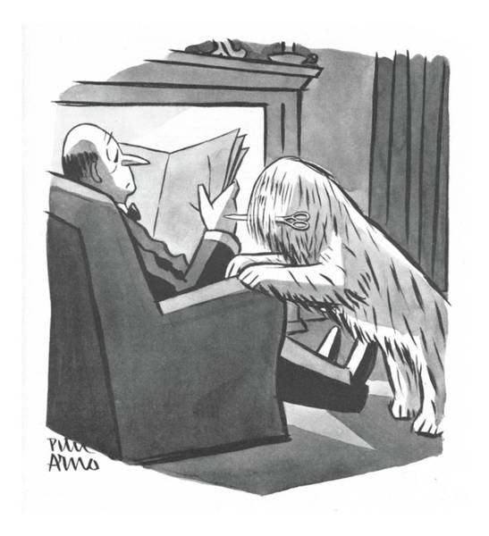Hair Drawing - New Yorker April 8th, 1944 by Peter Arno