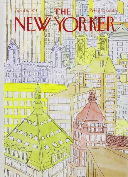 Skyscrapers Painting - New Yorker April 8th 1974 by Raymond Davidson