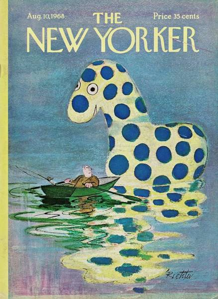 Rowing Painting - New Yorker August 10th 1968 by Misha Richter