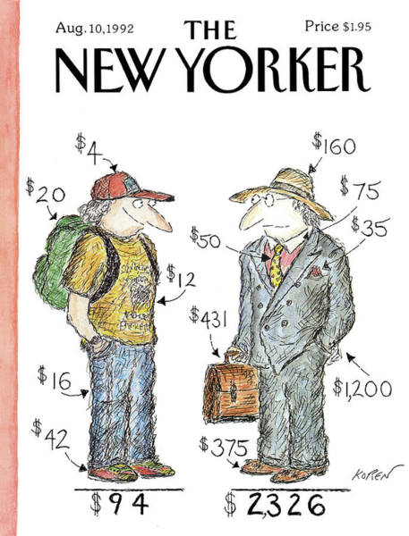 Dress Painting - New Yorker August 10th, 1992 by Edward Koren