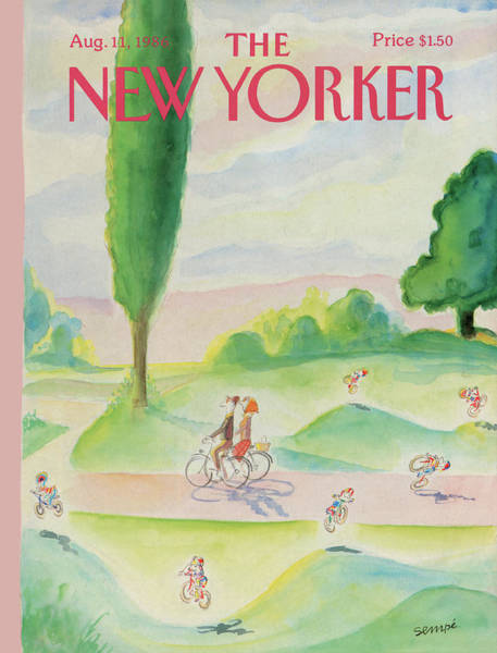 Bicycle Painting - New Yorker August 11th, 1986 by Jean-Jacques Sempe