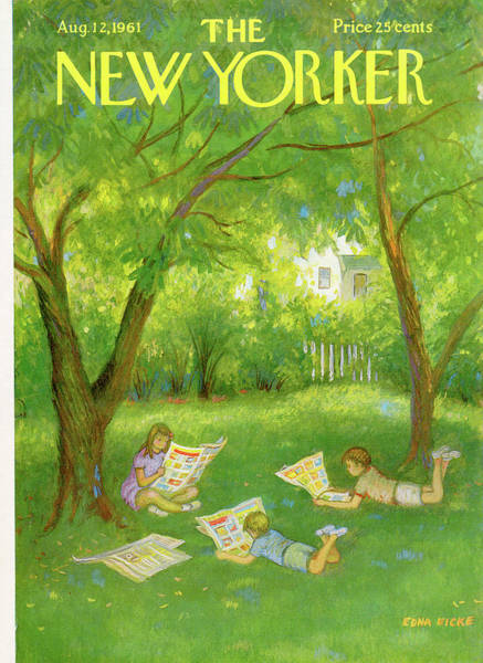 Reading Painting - New Yorker August 12th, 1961 by Edna Eicke