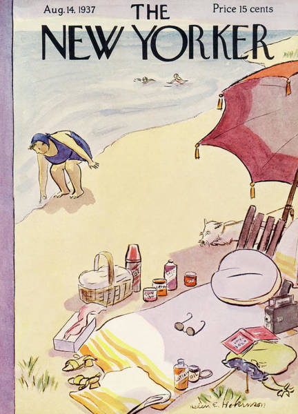 Summer Vacation Painting - New Yorker August 14th, 1937 by Helen E Hokinson