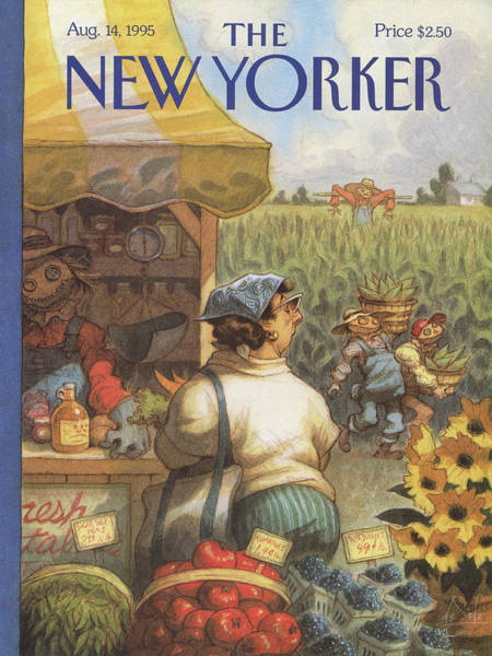 Farmer Painting - New Yorker August 14th, 1995 by Peter de Seve