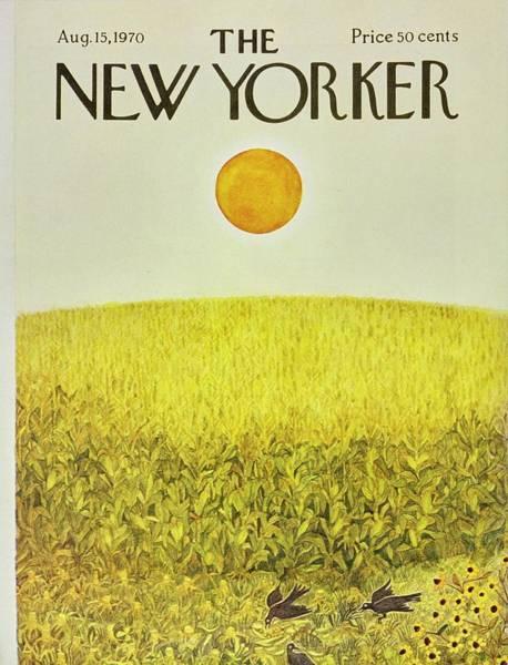 Summer Scene Painting - New Yorker August 15th 1970 by Ilonka Karasz
