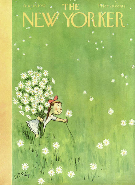 Green Painting - New Yorker August 16th, 1952 by William Steig