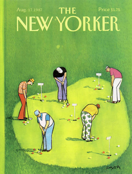 Golf Painting - New Yorker August 17th, 1987 by Charles Saxon