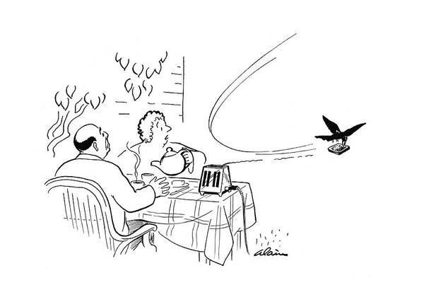 Raven Drawing - New Yorker August 19th, 1944 by  Alain