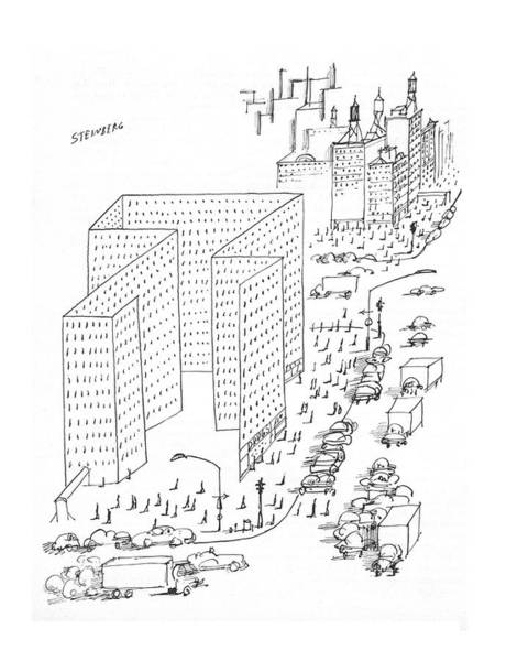 Facade Drawing - New Yorker August 21st, 1965 by Saul Steinberg
